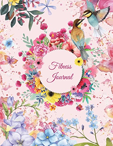 Fitness Journal: Pin Floral, Weekly Menu Meal Plan And Weekly Workout Progress Planner Large Print 8.5