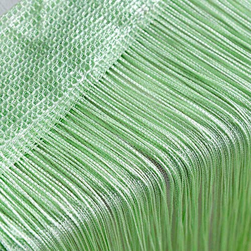 Door String Curtain, Wall Panel Fringe Window Room Divider Blind, Home Patio Bedroom Decorative Tassel Screen Ribbon Strings Strip Silver Thread Screen for Wedding Coffee House Restaurant (Light-G) -