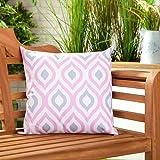 &Pink Grey Geometric Design Wasserabweisend Outdoor KISSEN Gefüllt für Gehstock