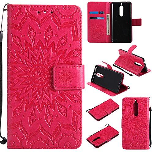 Cozy Hut Nokia 5 Hülle [ Sunflower Muster ] [Premium Leder] [Standfunktion] [Kartenfach] [Magnetverschluss] Schlanke Leder Brieftasche für Nokia 5 - rot Sonnenblume -