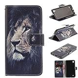 Skytar LG Xpower Schutzhülle,Cover für LG X Power,Folio Cover Wallet Case Stand Leder Handy Tasche Hülle für LG X Power (K220) Schutzhülle,Mutige Löwe