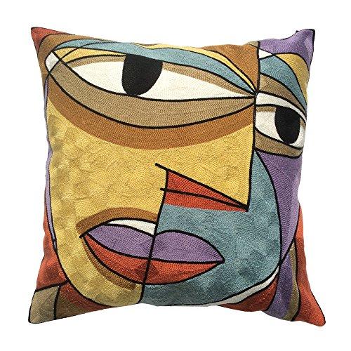 Coolsummer Tela ispessimento di alta qualità cuscino federa ricamare a mano, lana di Van Gogh Style Design Throw Pillow Cover S030A1