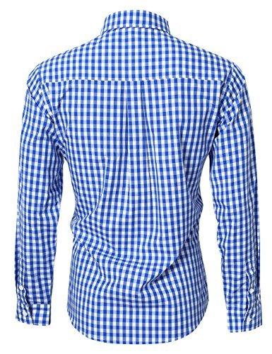 KoJooin Trachten Herren Hemd Trachtenhemd Langarmhemd Freizeithemd Baumwolle - für Oktoberfest, Business, Freizeit (Blau M) - 3