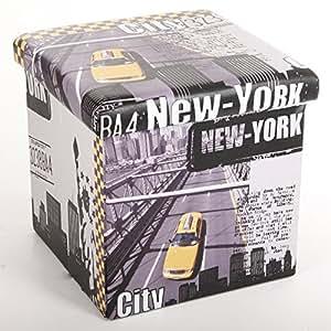 2 en 1 Pouf et Coffre de rangement - Imprimé NEW YORK CITY - Apportez une touche American dream à votre intérieur !