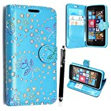 KAMAL STAR® NOKIA MICROSOFT LUMIA 535 PU LEDER LEATHER FLIP CASE COVER HÜLLE ETUI TASCHE SCHALE + STYLUS (Rose Sky Blue Diamond Book)
