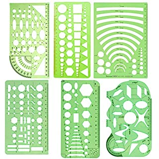6 Pcs Template Ruler, Technical Drawing Supplies, Geometric Stencils Measuring Templates, Building Formwork Drawing Drafting For Student Office