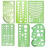 3 x Schablonen, geometrische Zeichnung, Lineal, für Studenten, Klasse, Büro, Schule, Gebäude, Schalung (Kreis und Oval) Six