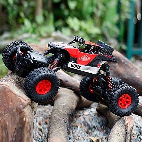GizmoVine RC Coche Teledirigido RC Car 1/16 Off road Rock Crawler 2.4GHZ 4WD Coche Escalada 4 Modo de Dirección Juguete Impermeable (Rojo)