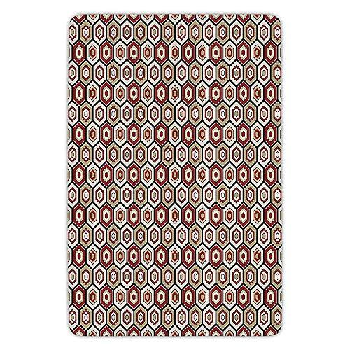 Japanese Crest Designs (Bathroom Bath Rug Kitchen Floor Mat Carpet,Geometric,Japanese Culture Inspired Hexagonal Pattern with Various Art Design Crest Pattern Decorative,Multicolor,Flannel Microfiber Non-slip Soft Absorbent)