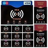 Travando  RFID & NFC Schutzhülle (10+2 Stück) für Bankkarte, Ausweise, Kreditkarte, EC-Karte, Reisepass - Kreditkartenhülle / Kartenschutzhülle mit RFID Blocker + GRATIS E-Book + 10 Farb-Sticker