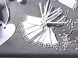 Etichetta tag in carta bianca (50 pezzi) con cuori decorativi e nastro in raso .matrimonio cerimonia battesimo nozze