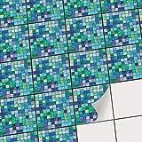 Klebefolie für Badfliesen | Küchen-Fliesen Aufkleber - Selbstklebende Fliesentattoos |Kachel Fliesen-Sticker - Wand-Fliesen Dekor | 20x20 cm - Motiv Mosaik Grün-Blau - 18 Stück