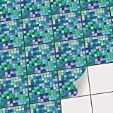 Klebefolie Fliesen-Mosaik | Fliesenaufkleber für Badezimmerfliesen und Küchenrückwand | Fliesenbilder - Kacheldekor - Fliesenposter | 15x15 cm - Motiv Mosaik Grün-Blau - 72 Stück