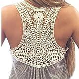 VEMOW Neue Design Mode Frauen Damen Mädchen Sommer SeLace Weste Top Kurzarm Bluse Casual Tank Tops T-Shirt. (EU-36/CN-S, Grau)