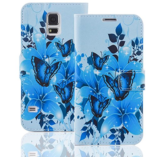Handyhülle kompatibel mit Samsung Galaxy Note 3 Neo Hülle [Blue Butterfly Muster] Case Galaxy Note 3 Neo Handytasche (Butterfly Cases Für Galaxy Note 3)