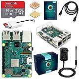 ABOX Raspberry Pi 3 B+ Starter Kit 16 Go SanDisk Micro SD Carte Classe 10, 5V 3A Alimentation Interrupteur Marche/Arrêt et Boîtier Transparent (Version Améliorée)