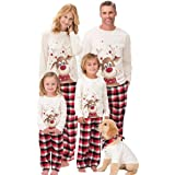 Beautyjourney Famiglia Pigiami Natale Pigiama Bambina Natale Maniche Lunghe Ragazzi Pigiama Donna Ragazze Uomo Due Pezzi Nata