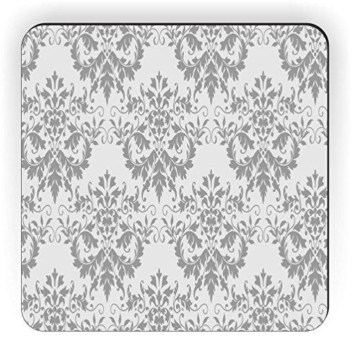 Rikki Knight Shabby Chic grau damast Design Quadratisch Kühlschrank Magnet