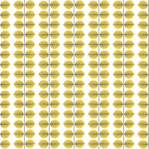 Stig Lindberg 1753 Vliestapete Blattranken formal geometrisch in orange-gelb und schwarz auf weiß