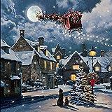 Snowtime Leinwandbild, Motiv Schneefall, 40 x 40 cm, Weihnachtsdekoration