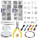 Le produit incluant:   Kit de fabrication de bijoux boîte x2  Bague en laiton x1  fil de perles x8  Tweezer x1  Pinces x1  Étriers x1     Kit de fabrication de bijoux comprenant:   Anneaux de saut ouverts 4 mm / 8 mm  Fermoir mousqueton 7 x 12 mm  ...