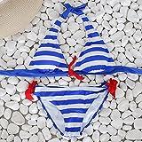 Lialbert Neckholder Gestreiftes GeschnüRter Triangel Bikini-Tanga SchnüRng Push Up Mit Blumen Enge Hautenges Sale Exklusive Bikinihose Mit BüGel Zweiteiliger Gerippter Bikini (Blau,40)