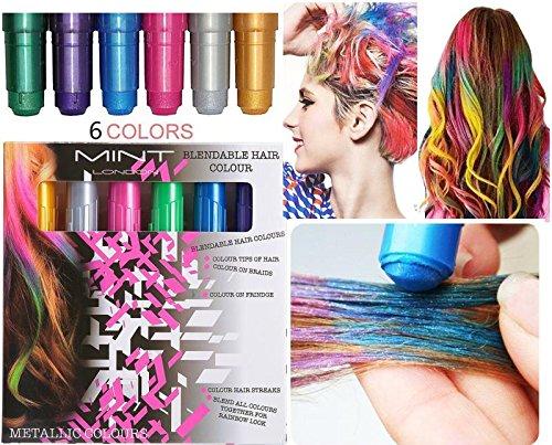 6er Set Haar Verfärbungsstifte, Temporäre Haarfarbe mit metalische Glitzer, Haarkreide, Temporary Hair Color, nützliche Haar verfarben Stiften, für Fasching, Oktoberfest, Wasen, Halloween, Partys,