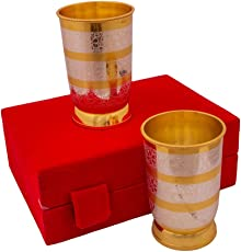 Anand Crafts Silver & Gold Plated Regular Water Glass Set 2 Pcs. 2.75'' x 4''