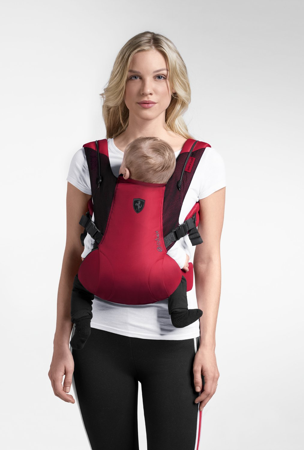 "CYBEX Gold BEYLA.twist Ergonomic Baby Carrier Scuderia Ferrari, From birth to approx. 2 years (approx. 3.5 - 15 kg), Victory Black  Comfortable and versatile adjustable baby carrier: For ergonomic carrying and healthy hip development in babies - Suitable from birth to approx. 2 years (approx. 3.5 - 15 kg), Recommended by the ""International Hip Dysplasia Institute"" Quick and easy putting on/taking off due to practical buckle system, Individually and continuously adjustable, Optimum wearing safety due to safety buckle on the waist belt Width and height-adjustable belt for individual adaptability, Multi-functional head and neck support, Promotes healthy development of the joints through natural squat position 5"