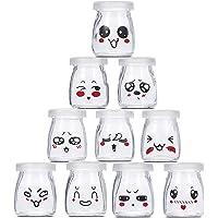 10 Pots Yaourt en Verre avec Couvercles Décor émoticône différents, petit Pot Yaourt Enfant pour Yaourtière Yaourt…