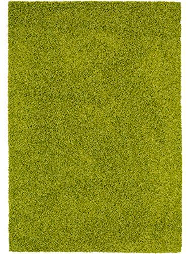 benuta Teppiche: Shaggy Langflor Hochflor Teppich Swirls Grün 80x150 cm - schadstofffrei - 100% Polypropylen - Uni - Maschinengewebt - Wohnzimmer