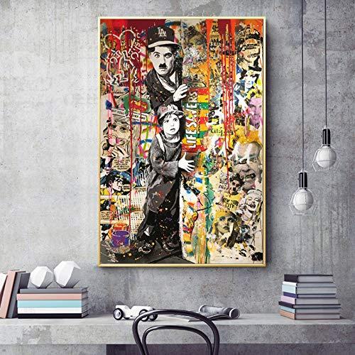 Yhyxll Graffiti Art Chaplin No Fumar Lienzo Pintura