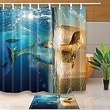 Impresión Digital 3D Creativos Decoración de sirena Mermaid Girl en desierto y Océano 71X71Tejido resistente al moho en la cortina de la ducha con traje de 15.7x23.6en franela felpudo de piso antideslizante alfombras de baño