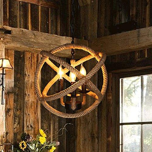 Baredury American Retro-Stil Loftartigen Seil Kronleuchter Kreative Kostüm Shop Kaffee Restaurant Bar Industrielampen,3 * Kronleuchter E14 45Cm (Normale (Kostüm Erweiterungen)
