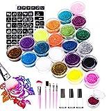 Navidad Emooqi Kit de Tatuajes Temporales, 24 Colores Tatuaje de Brillo para el Cuerpo Brillos de Tatuaje,con 24 Brillos,143 Plantillas de Tatuaje,5 Pinceles, 3 Pegamentos,62 Diamante de imitación