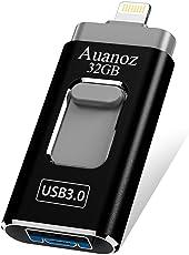 USB-Flash-Laufwerk 32 GB iPhone Memory Stick, Auanoz Thumb-Laufwerk USB 3.0 Memory Stick kompatibel iPhone iPad Android und Computer (Schwarz-32GB-3.0)