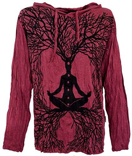 GURU-SHOP, Camisa Manga Larga Sure, Camisa con Capucha Meditación Chakra Buddha, Burdeos, Algodón, Tamaño:L, Camisetas Seguras