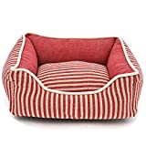 ZM Stripe Thick Linen Pet Dog Nest Cat Litter Canvas Bite Thick Linen Dog Cat Nest Slippers,Multi-colored-M