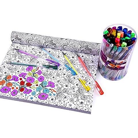 BOLÍGRAFOS DE TINTA DE GEL PARA ARTISTAS – Estuche de 40 bolígrafos de Colores para Adultos, dibujo y arte –Calidad profesional, Purpurina Brillante, neón y Colores Metálicos
