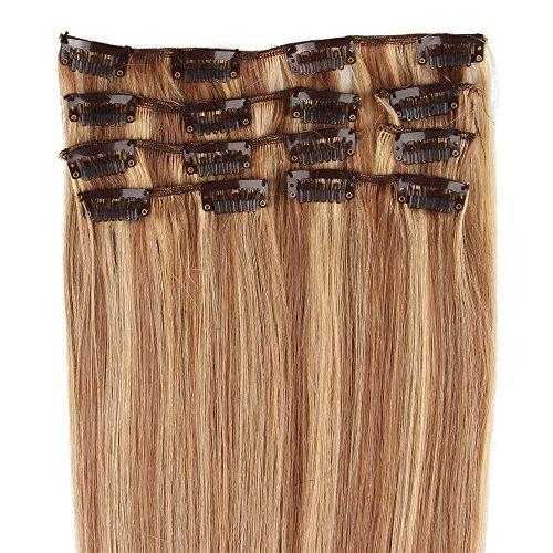 Beauty7 8 Tressen Clip-in Extensions Remy Echthaar Haarverlaengerung Haarverdichtung Haarteil Peruecke Echthaar Extensions Straehnen-50cm/20 inches- in Farbe #8/613 Hellbraun und Lichtblond-100g