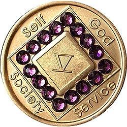 5Year NA Médaillon Bronze Violet Cristal de Swarovski Puce