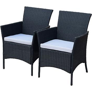 Amazon De 2er Set Polyrattan Rattan Stuhle Stuhl Gartenstuhl Sessel