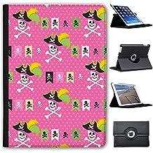 "Manie Pirate avec trésor & perroquet Case Cover/Folio en simili cuir pour le Apple iPad iPad 9.7"" 5th Generation (2017) Pinke Piratenflagge & Totenköpfe"