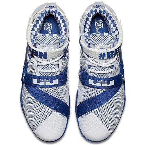 Nike Lebron Soldier Ix Prm, Scarpe da Basket Uomo Bianco / Argento / Blu (White / Metallic Silver-Gm Royal)