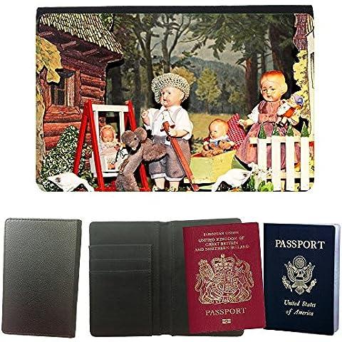 Couverture de passeport // M00169950 Espectáculo de marionetas Juguetes // Universal passport leather