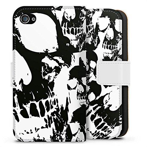 Apple iPhone X Silikon Hülle Case Schutzhülle Skull Schwarz-Weiß Gothic Sideflip Tasche weiß