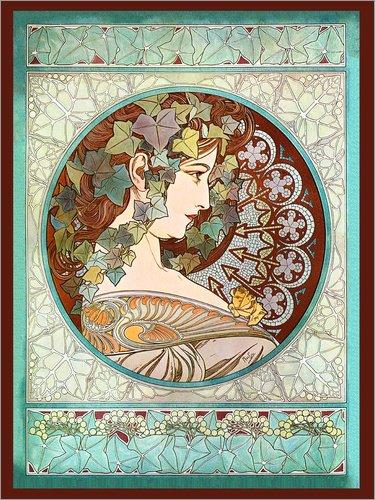 Poster 30 x 40 cm: Efeu von Alfons Mucha - Hochwertiger Kunstdruck, Kunstposter