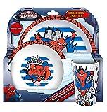 Set di 2 contenitori per alimenti, tema: Spider Man, plastica, White Blue, 20.7 x 20.7 x 11.20 cm