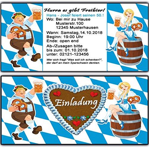 Einladungskarten zum Geburtstag Oktoberfest bayrisch Einladung 70 Stück o-zapft-is Hüttengaudi Geburtstagseinladung Mottoparty Karte Bayernn