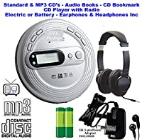 Premium Retro CD Discman (Portable Compact Personal CD Player) PLL (Digital) FM Radio - CD, CD-R / CD-RW & MP3 CDs (Audio Books with Bookmark Pause) inc Earphones - Up to 100 Second Anti-Skip Protection - Up to 99 Track Memory �?? Large Digital Display -